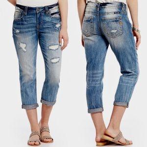 MISS ME Boyfriend Distressed Crop Women's 27 Jeans